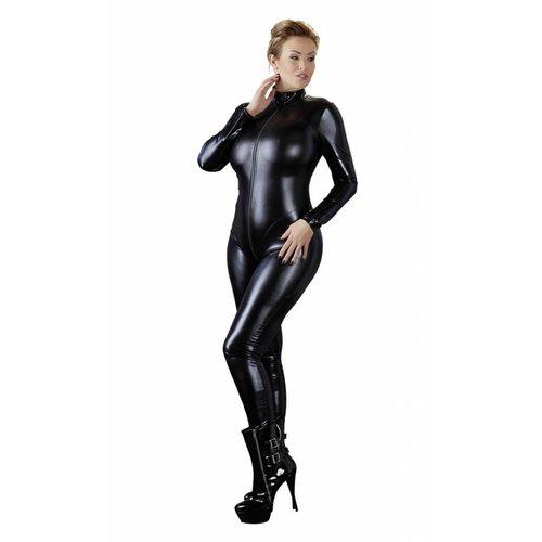Cottelli Collection Wetlook Jumpsuit met lange mouwen