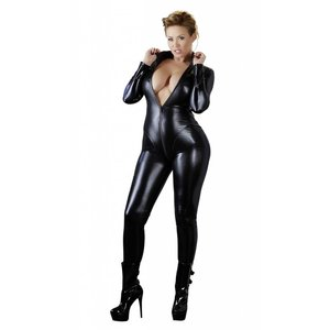 Cottelli Collection Wetlook Jumpsuit met lange mouwen