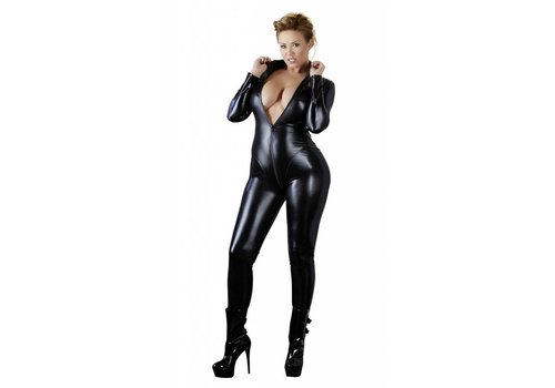 Cottelli Collection Wetlook jumpsuit with long sleeves