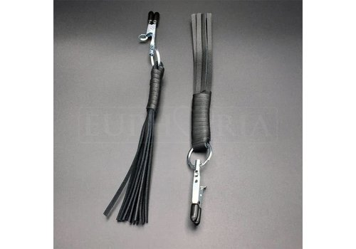 Rimba Nipple clamps with leather whip