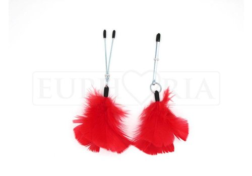Rimba Tweezer Nipple Clamps with Red Feathers