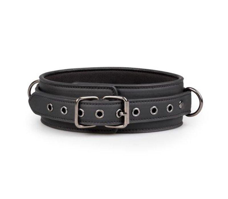 Sexy zwarte halsband met riem