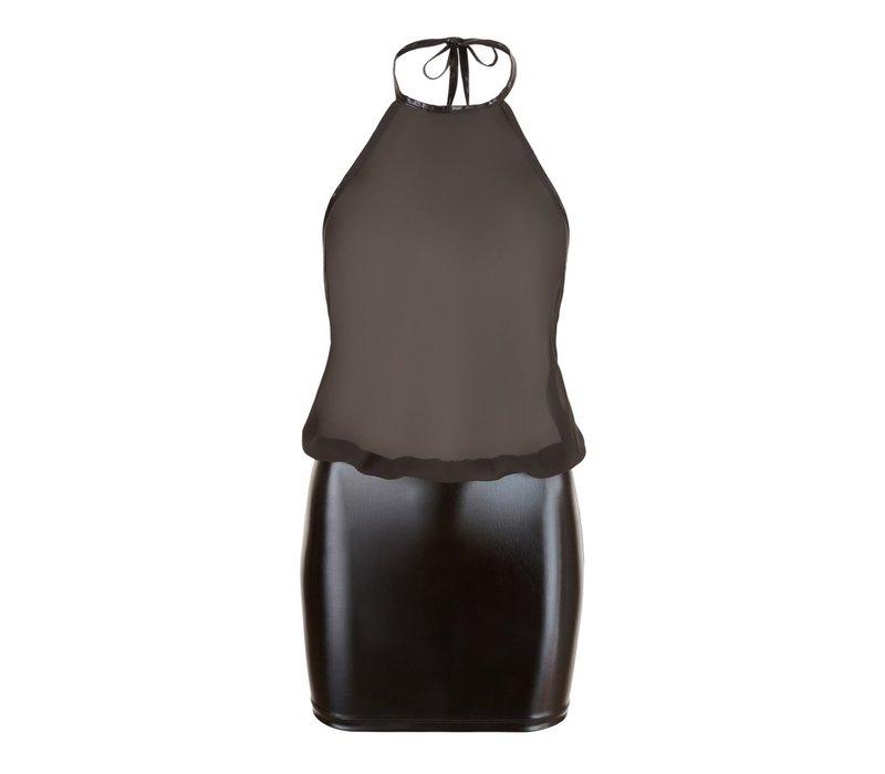 Wetlook Chiffon Dress with open backside