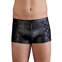 Matte black men's short with zipper and laces on the sides