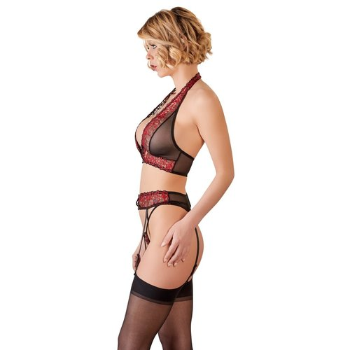 Abierta Fina 3-piece suspender set black and red with open crotch