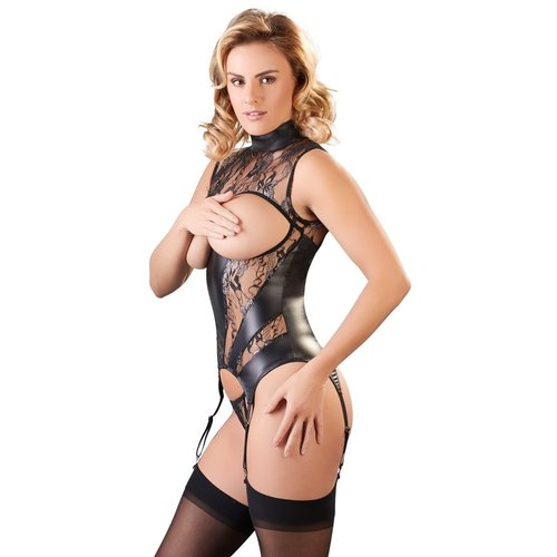 Abierta Fina Suspender body with open cups string - Decorated with lace & subtle glitter