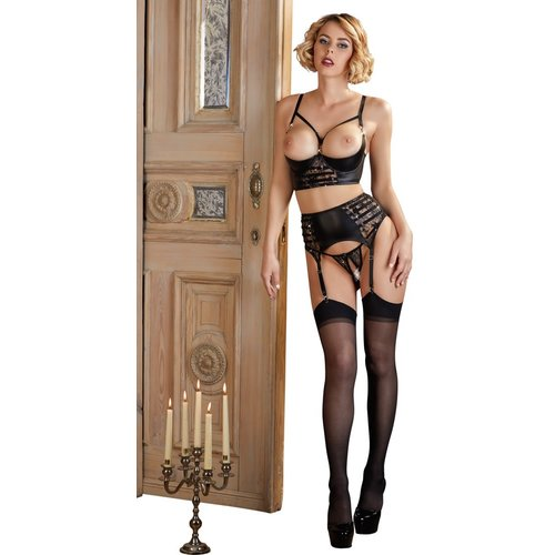Abierta Fina Black Suspender set with lace and open crotch - High waist