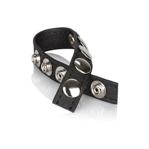 CalExotics Multi-Snap Ring - Simple Leather cock ring with 5 snap buttons