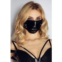 Black Face Mask with Studs - Handmade