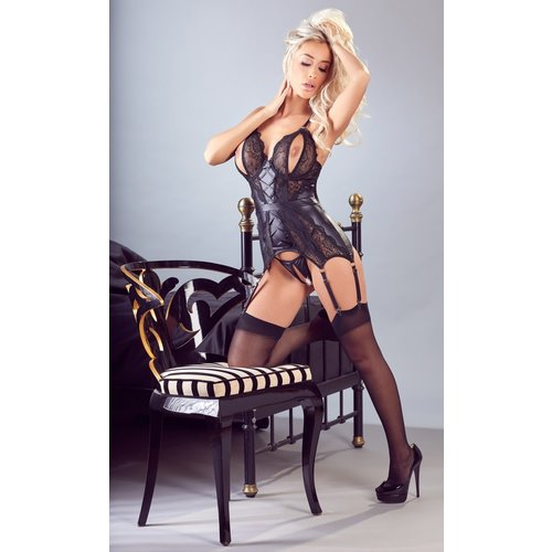 Cottelli Collection Black Basque with suspenders, open thong and cups
