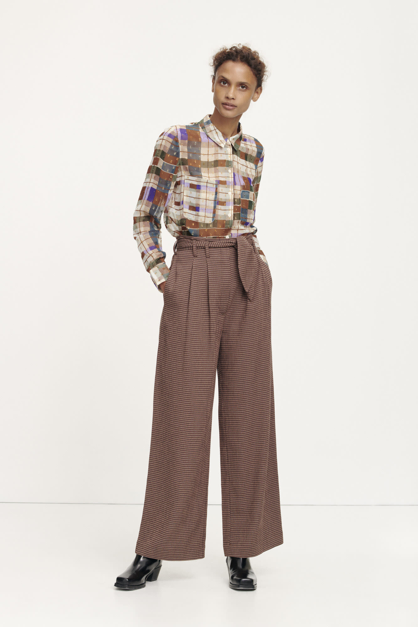 Nellie trousers argan check samsoe samsoe-2