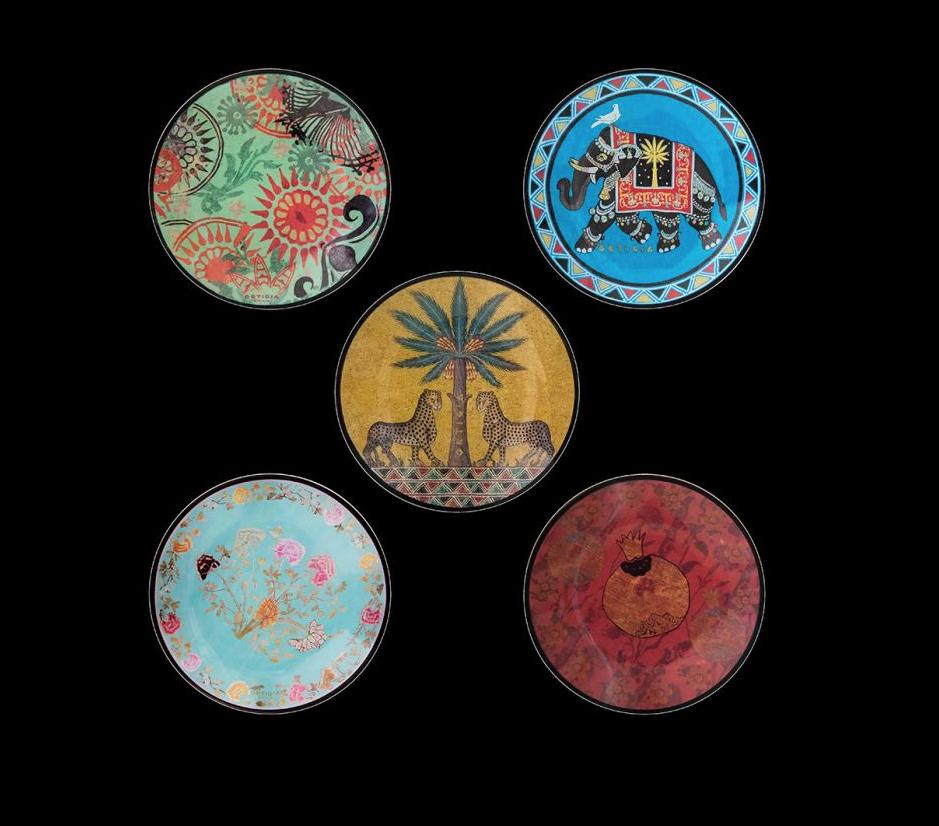 Ortigia Sicilia Tin 5 glass plates-2