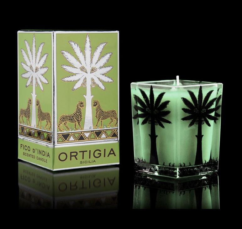 Ortigia Sicilia large square candle  fico d'india 9.5x7 cm-1