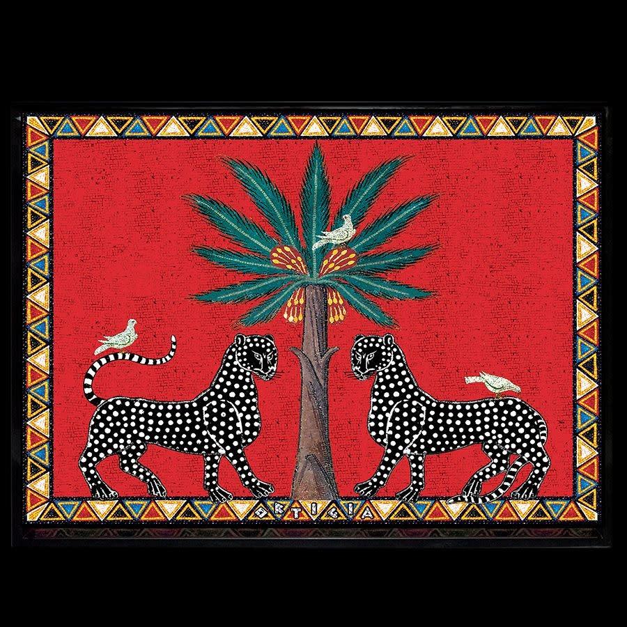 Ortigia Sicilia red mosaico tray large 38 x 28 x 3-1