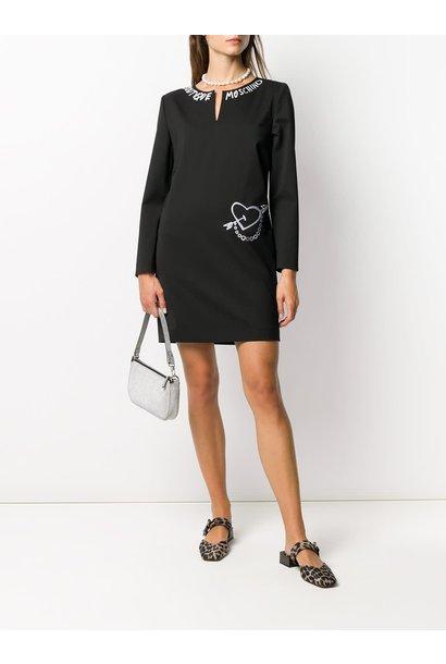 zwarte caddy jurk  Moschino