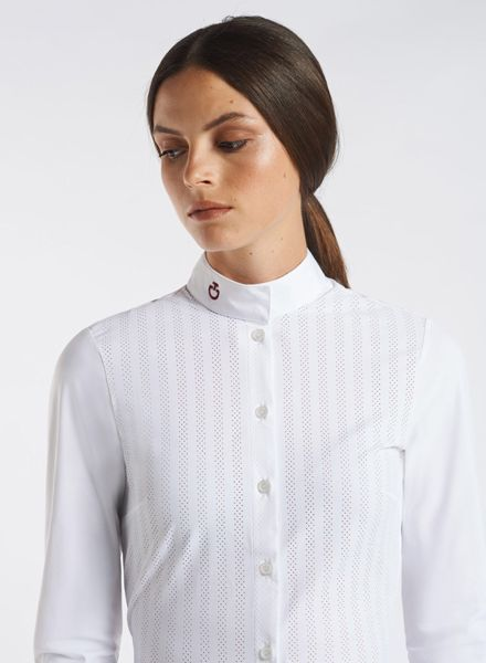Cavalleria Toscana Slim Stripe Perforated Shirt L/S