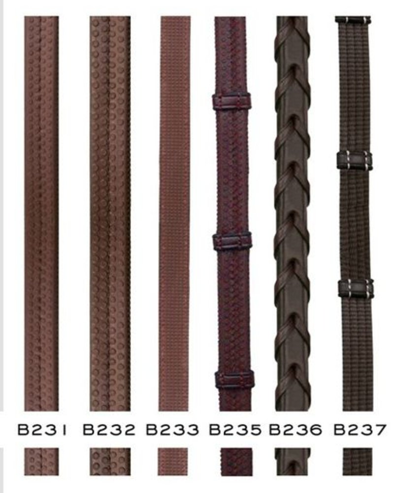 Dy'on Reins Full Leather Rubber Inside 12.5mm Brown