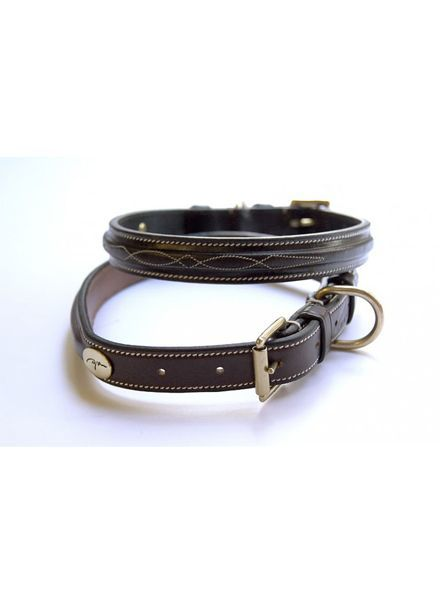 Dy'on Dog Collar Fancy Stitch Brown
