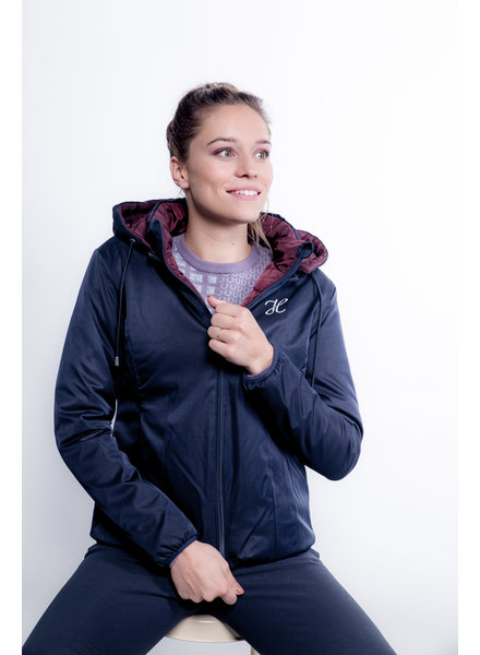 Harcour Lisa Parka Reversible Padded Jacket Navy/Bordeaux