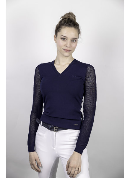 Alessandro Albanese Lds Sweater Perf Sleeve Navy