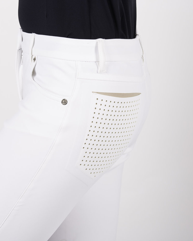 Cavalleria Toscana CT Perforated Flap Breeches White