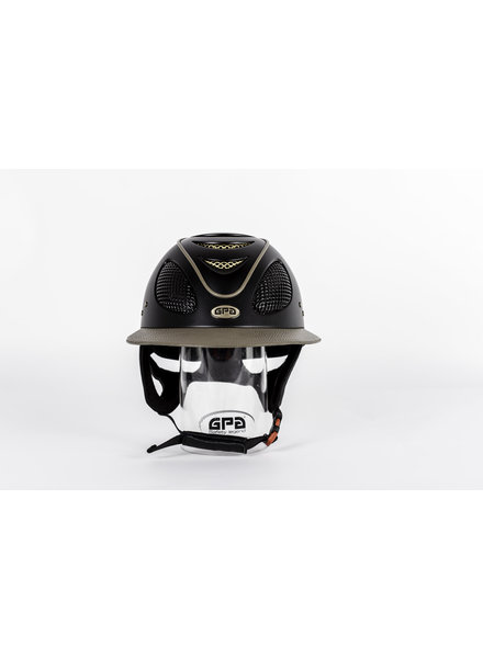 GPA First Lady 2X Mat Black Leather Visor & Piping Taupe Gold Grit