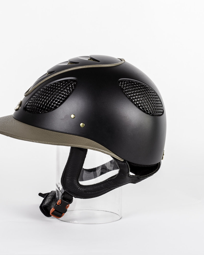 GPA GPA First Lady 2X Mat Black Leather Visor & Piping Taupe Gold Grit