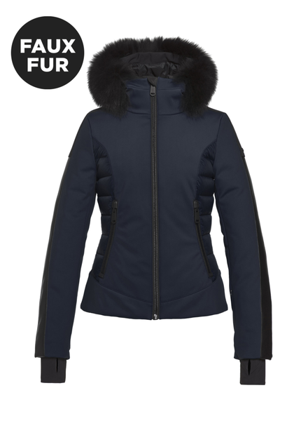 Goldbergh Kaja Jacket Faux Fox Fur Navy