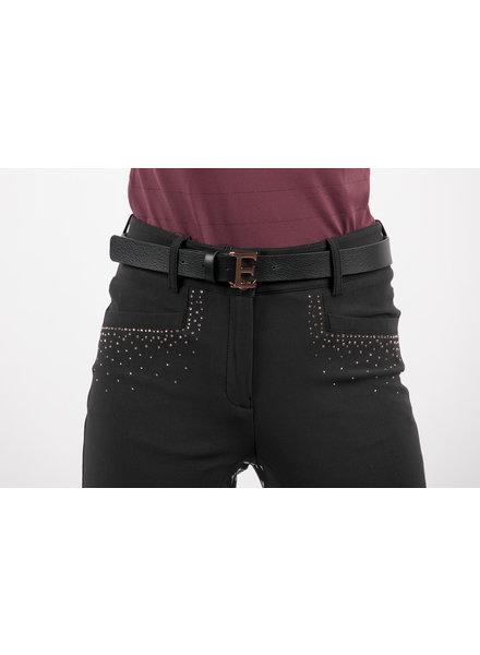 Equiline Leather Belt Black / Rose 80