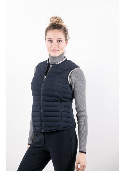 Cavalleria Toscana Quilted Front/Flat Back Puffer Vest Navy