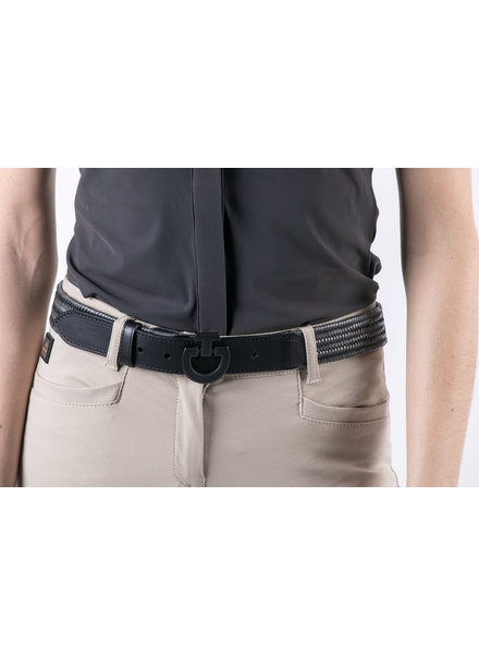 Cavalleria Toscana Woman Total Black Buckle Belt Army