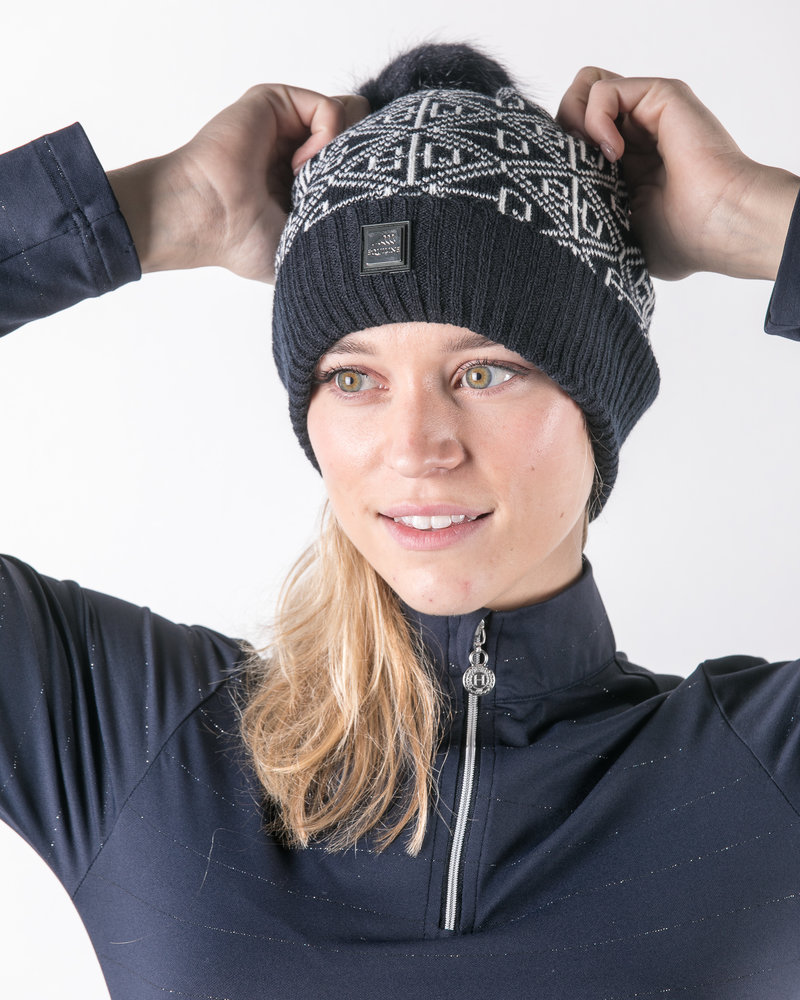 """Equiline Equiline Knitted Had """"EQ"""" Navy"""