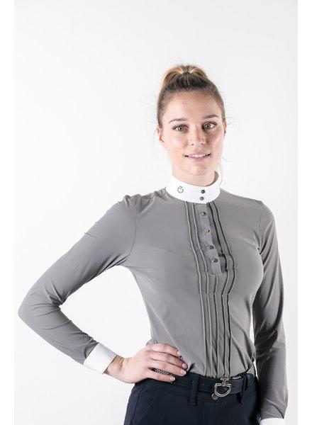 Cavalleria Toscana Pleated L/S Jersey Comp. Polo Shirt Grey
