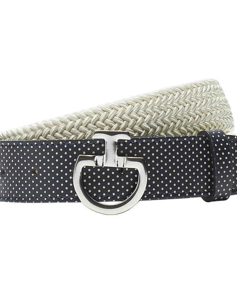 Cavalleria Toscana CT Women's Elastic Belt Perf. Leather Beige / Navy