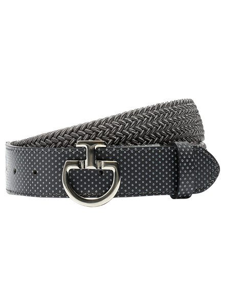 Cavalleria Toscana Women's Elastic Belt Perf. Leather Grey