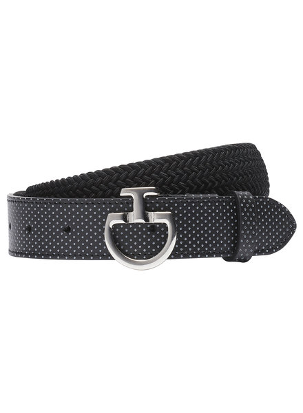 Cavalleria Toscana Women's Elastic Belt Perf. Leather Black