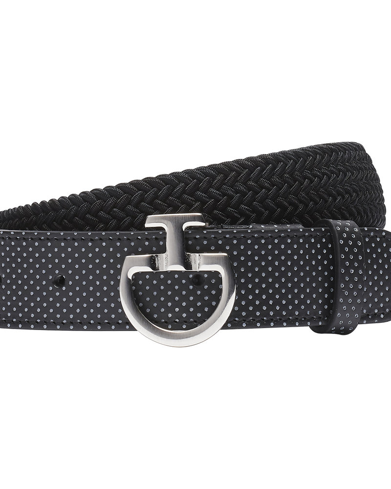 Cavalleria Toscana CT Women's Elastic Belt Perf. Leather Black