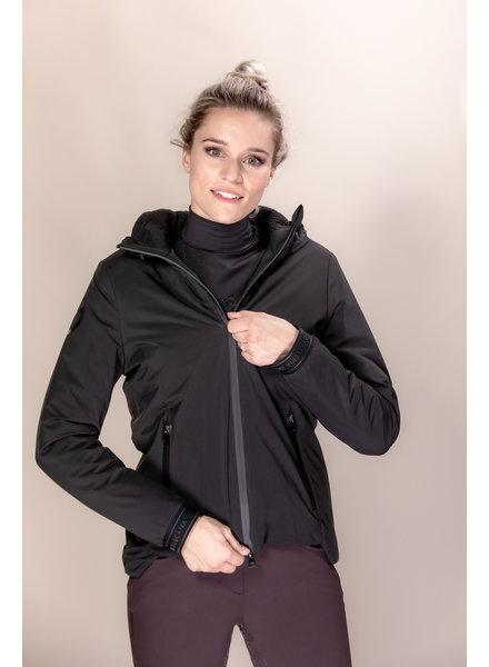 Cavalleria Toscana Geometric Cut Padded Nylon Zip Jacket w/ Hood 9999