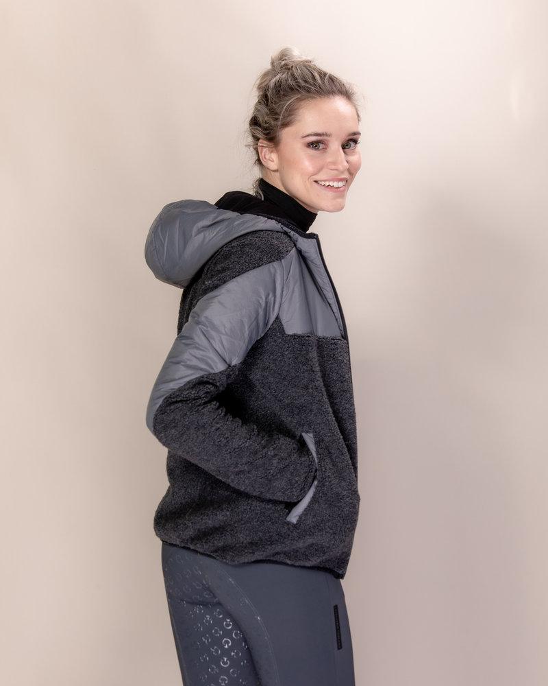 Cavalleria Toscana Cavalleria Toscana Sherpa Fleece Hooded Zip Jacket with Padded Nylon Inserts 8980