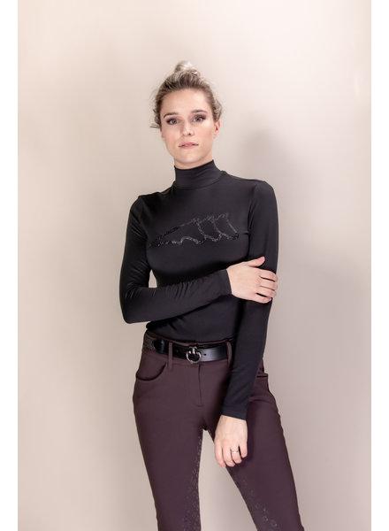 Equiline Women's Turtleneck Shirt L/S Gilaveg Black
