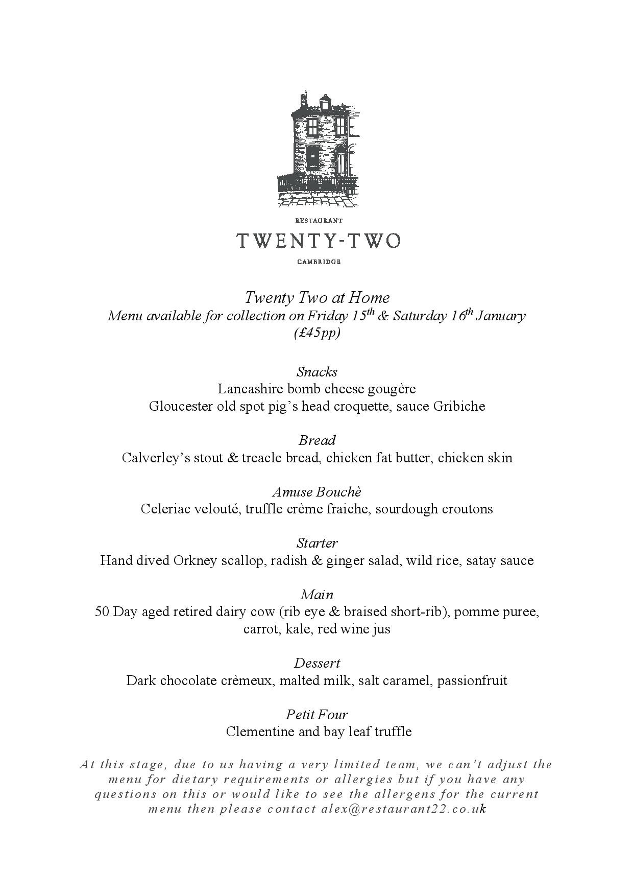 Restaurant Twenty-Two at Home - a lockdown pleasure!
