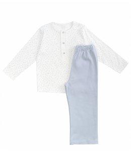 LARANJINHA | 2-delige pyjama sterretjes wit & lichtblauw