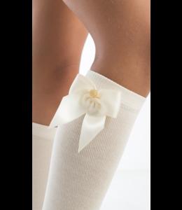 MEIA PATA | Kniekousje strik & gouden knoopje wit