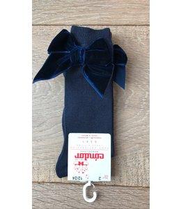 CÓNDOR | Kniekousje met velvet strik - Donkerblauw