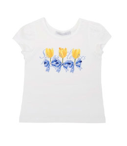 BALLOON CHIC | T-shirtje met tulpen & strass - Wit