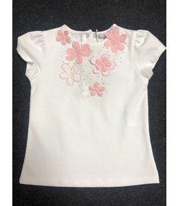PATACHOU | T-shirtje met bloemen - Wit & Roze