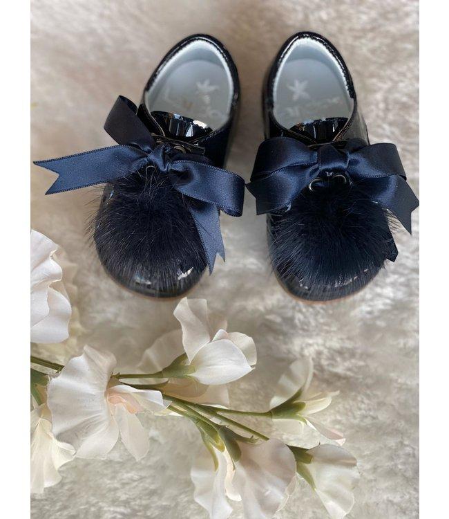 LANDOS | Veterschoentje met pompom donkerblauw