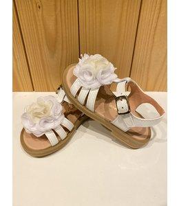 CLARYS | Sandaaltjes met bloem - Wit