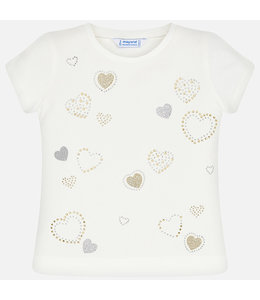 MAYORAL | T-shirtje met hartjes Zilver & Goud - Ecru