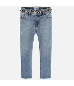 MAYORAL | Skinny jeansbroekje met studs & ceintuur - Lichtblauw